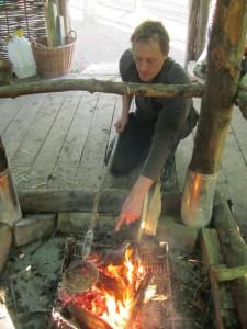 Jim cooking popcorn