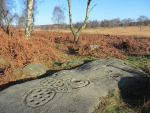 Carved stone near Gardoms Edge