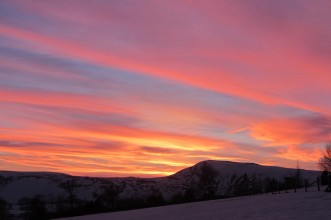 Sunset behind Mam Tor in the west